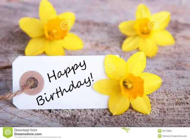 label-happy-birthday-white-yellow-daffodils-background-39179881